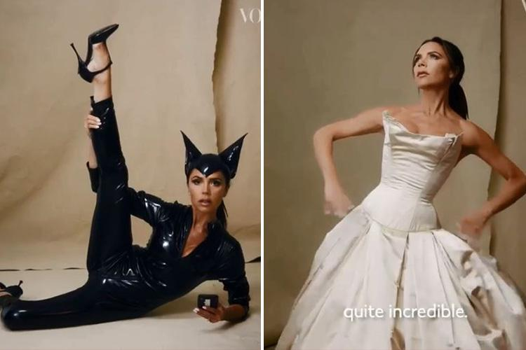 Victoria Beckham Slips On Her Wedding Dress And Old Spice